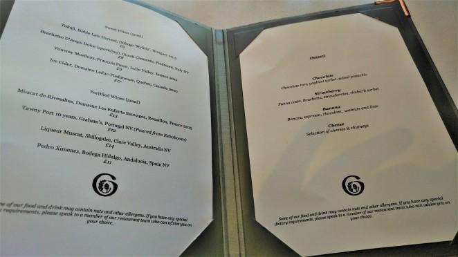 Gidleigh Dessert menu