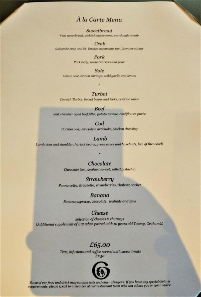 Gidleigh Sunday menu